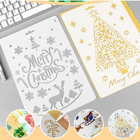Creative Cute Christmas DIY Hollow Painting Ruler Lovely Children Drawing Stationery Supply Plastic Rulers