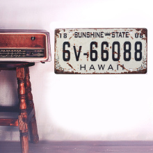 Retro European HAWAII licence plate metal iron crafts Wall stickers picture Furnishing articles painting draw bar pub house