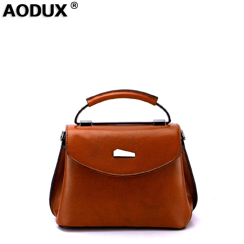 AODUX Genuine Leather Second Layer Cow Leather New Fashion Famous Brand Women Tote Shopping Bags Female Shoulder Messenger Bag<br>