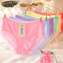 2017 Modal Cotton High Elasticity Candy Color Women Briefs Underwear Sexy Lace Girls Lady Underpants Knickers Panty M XL(China)