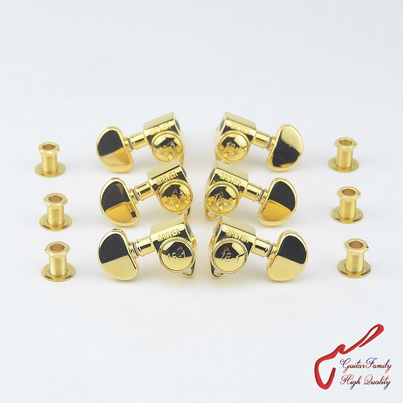 1Set  3R-3L Genuine Original Grover Guitar  Machine Heads Tuners  18-1 Series  Gold  ( without original packaging )<br>