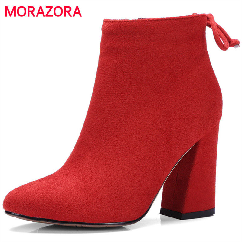 MORAZORA 2017 Spring autumn ankle boots for women zipper flock solid high heels boots woman fashion elegant party big size 34-43<br>
