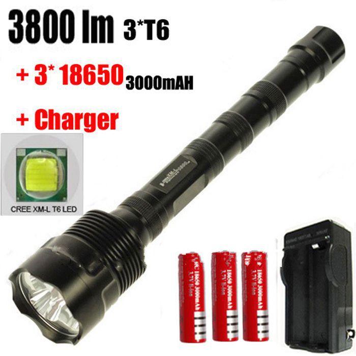 XM-L 3*T6 3800-lumens 5-Mode LED Flashlight Torch Lamp+3PCS 3000MAH 18650 Battery + Charger<br>
