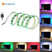 Lumiparty SOLLED 1M 60LEDs TV LED Strip Light USB Port SMD 5050 RGB Color Changing Light Kit Black PCB for Flat Screen