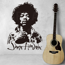 Good quality new Art Design home decor Jimi Hendrix Vinyl Wall decals removable Rock music guitar player cheap room sticker