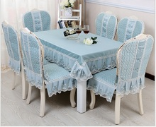 European Pastoral lace tablecloth set suit 130*180cm table cloth matching chair cover 1 set price 2colors free ship(China)