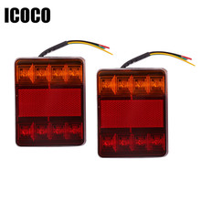 ICOCO New 2pcs ABS Plastic Waterproof Trailer Truck 8LED Taillight Brake Stop Turn Signal Indicator Light Lamp 12V