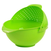 Useful Kitchen Wash Basket Creative Clamshell Drain Basket Plastic Water Filtering Sieve Large Fruit Plate 27.5*24.5*12CM HG0205