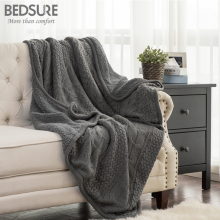 Bedsure Knit Sherpa Throw Blanket Fuzzy Microfiber Fleece Soft Blankets for Bed Couch All Season 50x60 Warm Cobertor