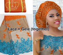 5 yards African French lace Tulle Fabric Matching Crown ASO OKE Headtie Full Length Head Tie Gele Headscarf beset with stones