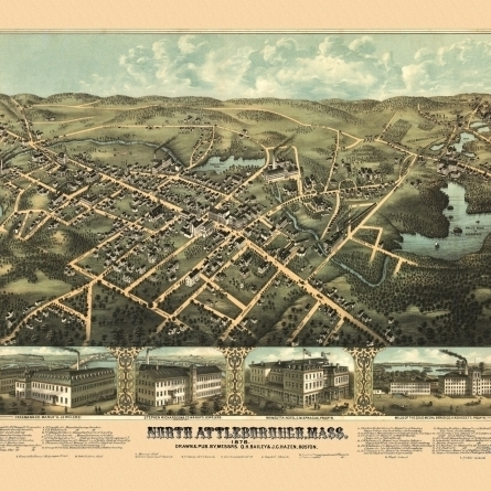 Old Map of North Attleborough Massachusetts 1878 Bristol County Poster Print (36 x 54)