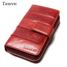 High Quality 2017 New Style Layer Of Import Oil Wax Cowhide Medium Paragraph Buckle Leather Wallet Women's Purse