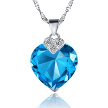 New Fashion and Fancy 18 K White Gold Blue Red Purple Crystal Love Heart & Oval Pendant Necklace For Women Girls Costume Jewelry