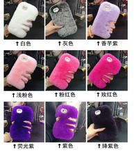 DIY Real Rex Rabbit Fur Hair Phone Case for iphone 5 5s se 4 4s ipod touch 5 touch 6 Bling Shiny Rhinestone Plush Furry back 5C