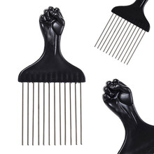 Mayitr Professional Salon Use Black Metal African Hair Combs Afro Hair Comb For Hairdressing Tools(China)