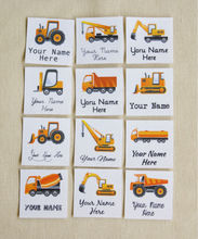 84 Kid's Clothes Labels, organic iron on name tags with trucks , Clothing Labels