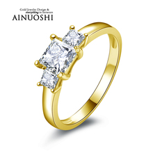 AINUOSHI 10K Solid Yellow Gold Engagement Rings 3 Princess Cut nscd Simulated Diamond Jewelry New Women Wedding Engagement Ring