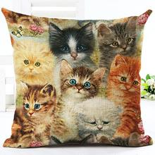 2017 Factory Direct Supply Cute Farm Cat Printing Linen Square Throw Pillow Home Baby Room Decorative Cushion(China)