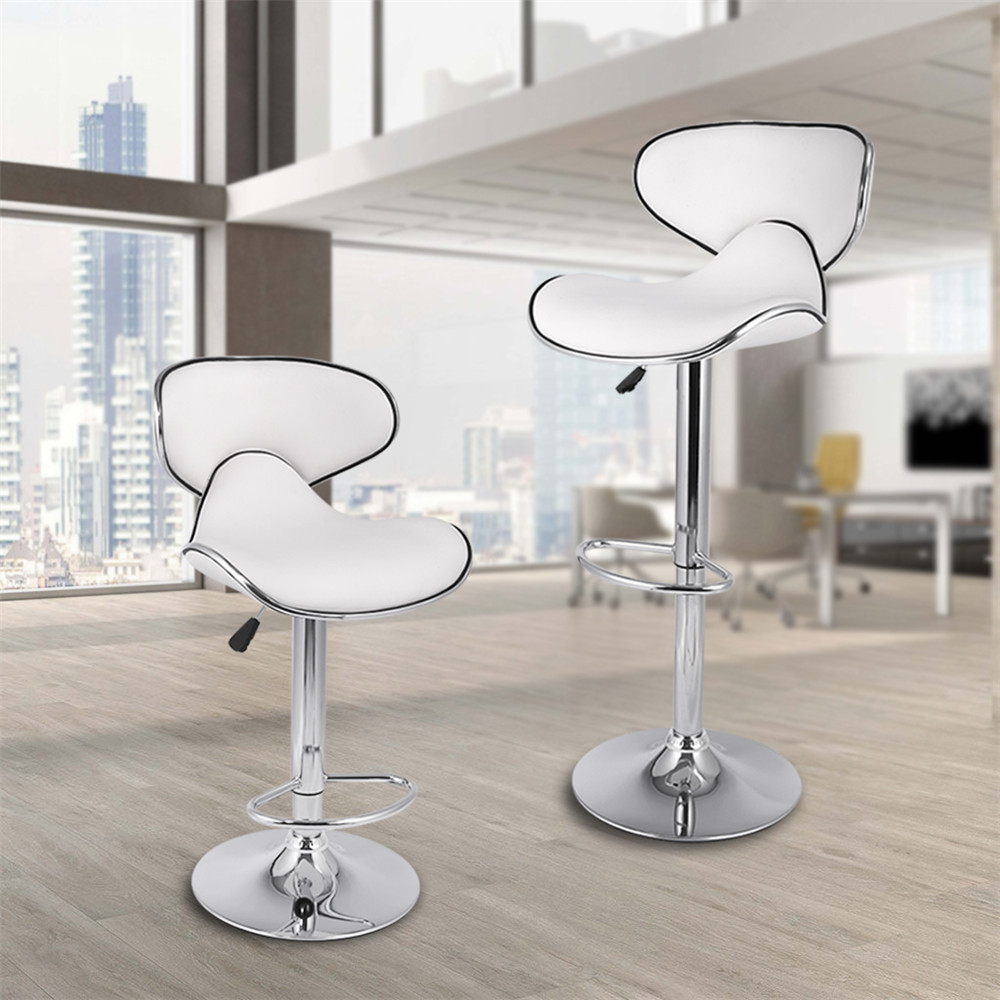 LANGRIA Set of 2 Gas Lift Height Adjustable Swivel Faux Leather Wrap-Around Bar Stools Chairs with Chromed Base and Footrest 06