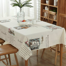Pastoral Tablecloths Cotton Linen Tablecloth Hotel Home Kitchen Party Wedding Table Cloth Printed Beige White Cover Towel(China)
