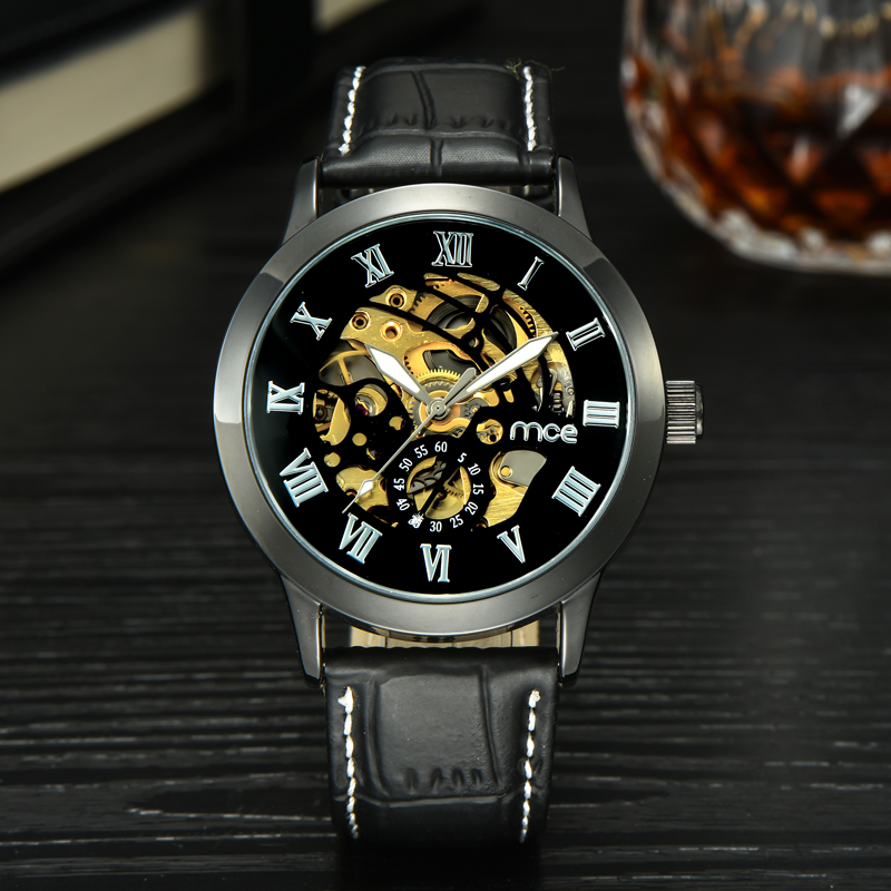 mens watches top brand luxury leather band mechanical watch black auto vacuum plating men watches 2016<br><br>Aliexpress