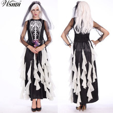 New Adult Ghost Bride Costume Black Skeleton Dress Zombie Wedding Dress Skull Bride Fancy Long Dress Halloween Costume for Women
