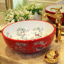 Red China Artistic Europe Style Counter Top porcelain wash basin bathroom sinks ceramic art basin bowls flower and bird