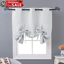 NICETOWN Solid Color Thermal Insulated Adjustable Tie up Shade Grommet Blackout Curtain Modern Kitchen Window Curtain(China)