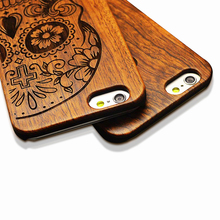 Wood Case ! Retro PC+  Bamboo Wood Skull Case for iphone SE 5 5s Original Wooden Cases For iphone 6 6s For iphone 6s 6 plus