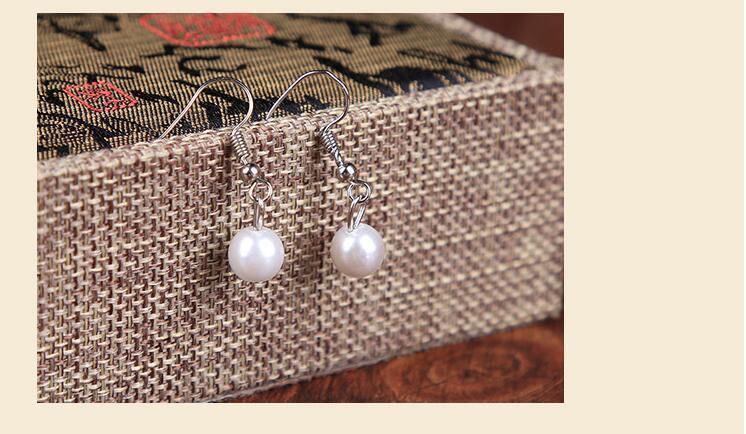 Faux Pearl Crystal Choker Necklace Earring Bracelet Jewelry Set (White) (8)