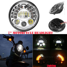 "7"" Led Headlight Fits Chopper Motorcycles 7 Inch Round Projector Led Headlight Chrome Headlight For Harley Street Glide FLHX"