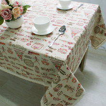 Christmas Table Cloth Rectangular Home Party Festival Decorative Table Cover Cotton Linen Lace Edge Cartoon Printed Tablecloth
