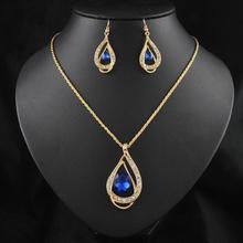 Wedding Jewelry Sets Gold Chain Colorful Crystal Water Drop Necklaces & Pendants and Dangle Earrings Schmuck Accesories(China)