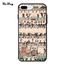 Sheet Music Illustrations Design Novelty Fundas For Iphone Case 7plus 7 PC&TPU Glaze Covers For Iphone 6 6s 6plus 6s Plus