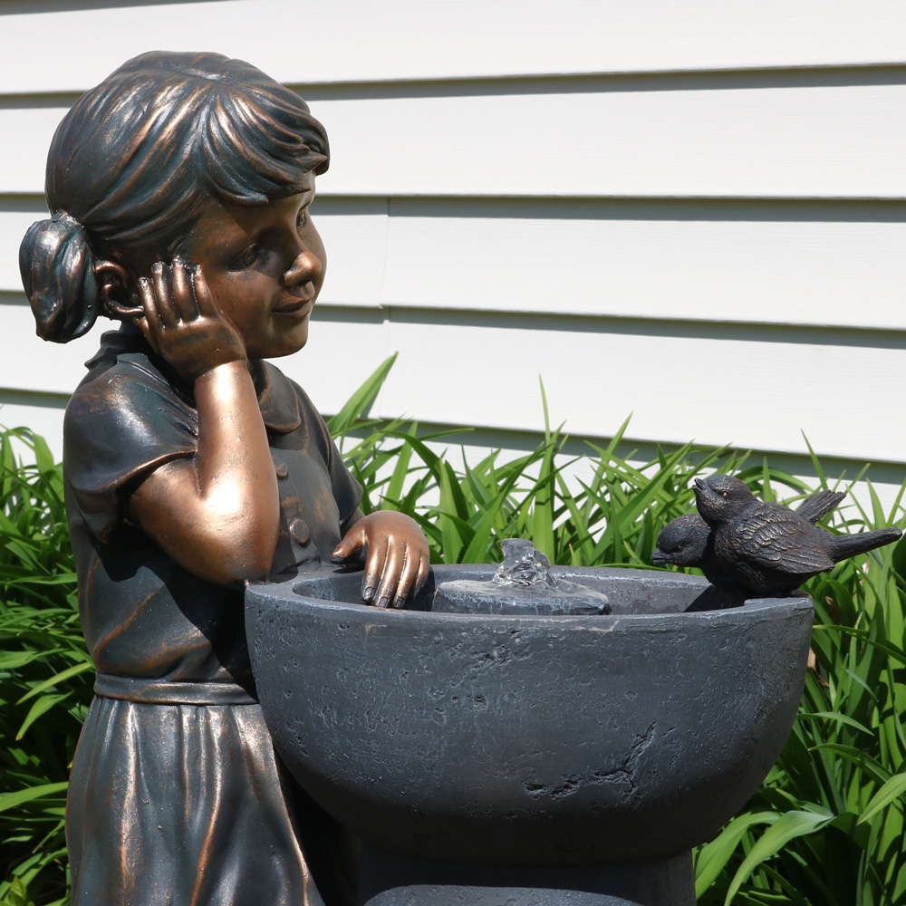 Sunnydaze Little Girl Admiring Water Spout Outdoor Water Fountain, 28 Inch Tall, Includes Electric Pump (2)