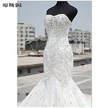 Luxury Bling Bling Wedding Dresses Mermaid Sweetheart Tulle Sleeveless Beaded Lace-up Sweep Train Bridal Gowns
