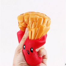 2017 Hot Stress Reduced Funny Toy Practical Jokes Cute Squishy Soft french fries Healing Toy Kawaii Squeeze Fun Joke Gifts Cute(China)