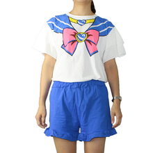 2017 Short Sleeves Cotton Pajamas Pants Suit Cute Cartoon Girl Warrior Sailor Moon Princess Section Cosplay Casual Home Service