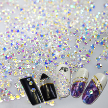 Shiny Rhinestone SS3-SS10 Flat back/Octagonal Shape Nail Art Decorations Glitter Rhinestone 3D Clear Crystal AB Color BENC395