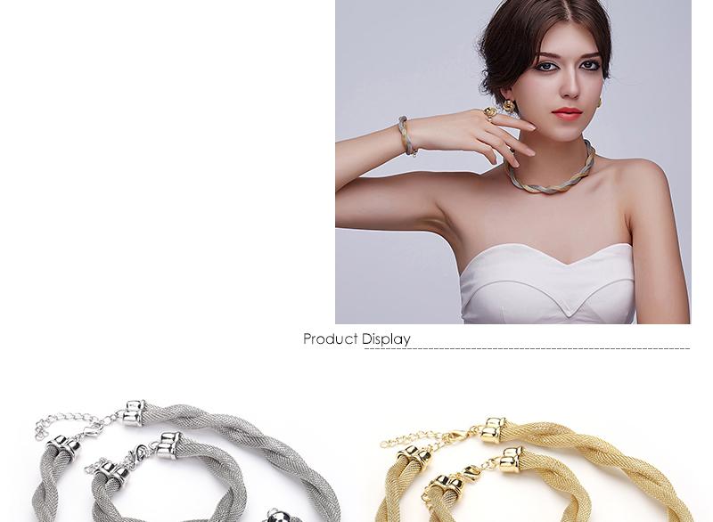 CWEEL Jewelry Set For Women African Beads Jewelry Set Wedding Twist Weave Choker Necklace Bridal Dubai Ethiopian Jewellery Sets (2)