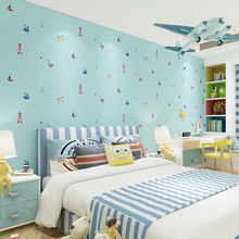Mediterranean Lighthouse Kids Room Wall paper Boys Girl Bedroom Non-woven Blue Wallpapers Cartoon TV Backdrop Wall Kindergarten(China)