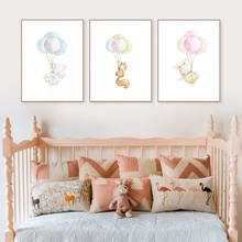 Watercolor Animal Cartoon Poster Elephant Rabbit Balloon Canvas Print Wall Art Painting Decorative Picture Baby Room Decoration(China)