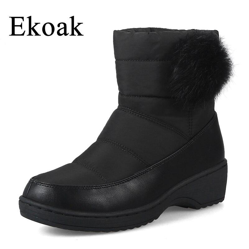 Ekoak Big Size Warm Cotton Women Snow Boots Fashion Winter Boots Ladies Plush Ankle Boots Wedges Shoes Woman Rubber Boots<br>
