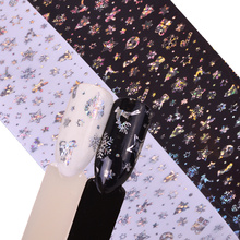 Xmas Christmas Box Gift Snow Flower Nail Foils White Nail Art Transfer Foil 3D Glitter Nail Art Stickers Warps Decal TRXK96-97(China)