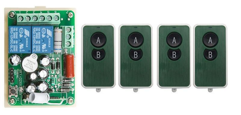 NEW AC220V 2CH RF Remote Control Switch System teleswitch 4X Transmitter + 1 X Receiver 2ch relay smart home z-wave 315/433 MHZ<br><br>Aliexpress