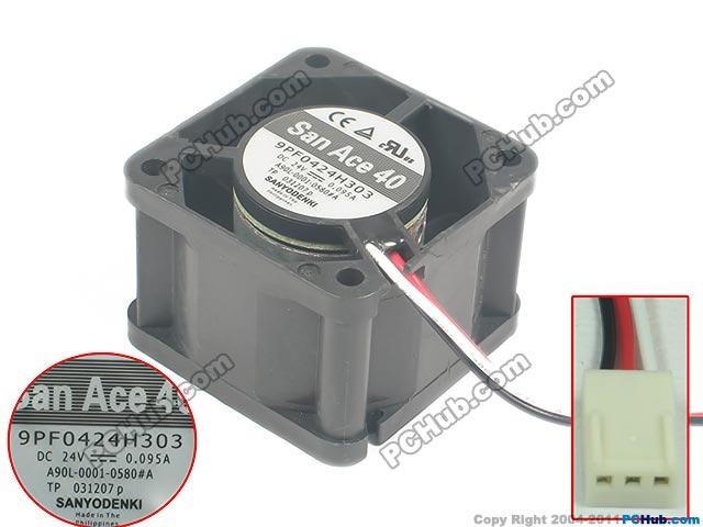 SANYO 9PF0424H303 DC 24V 0.095A, 40x40x28mm  Server Square fan<br>