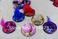 Free Shipping New Discount Fashion Feather  Hair Clip/Mini Top Hat With Clips/Hair Accessories/Flower Nice Headpiece/6Colors