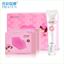 Pilaten lips Nourish Set 10pcs Lip Mask Collagen Crystal Anti-Ageing Membrane Moisture Essence Lip Mask + lip milk cheese(China)