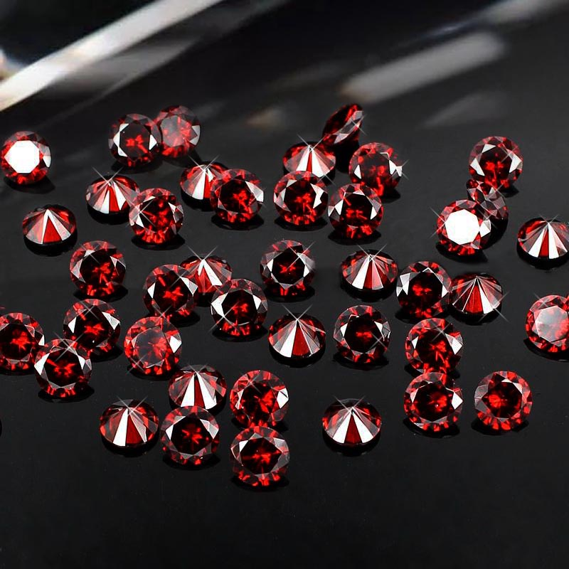 High Quality Siam 4-18mm Brilliant Cubic Zirconia Stones Round Shape Pointback Cubic Zirconia Beads Perfect For Jewelry Diy<br>