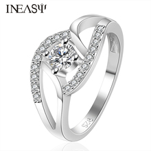 Women Rings Gift Romantic  Double Ring Quality Simple Hollow Classes Party Ring Zircon Engagement Fashion Women Ring